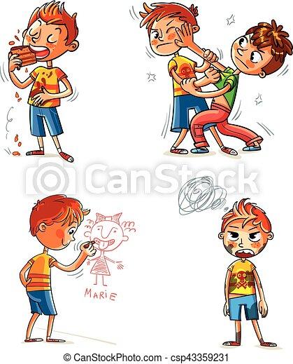 Mal comportamiento. Gracioso personaje de dibujos animados - csp43359231