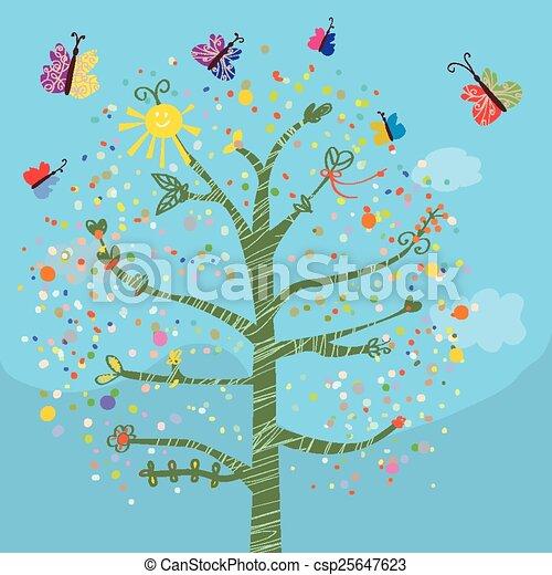 Una tarjeta graciosa con árboles y mariposas para niños - csp25647623