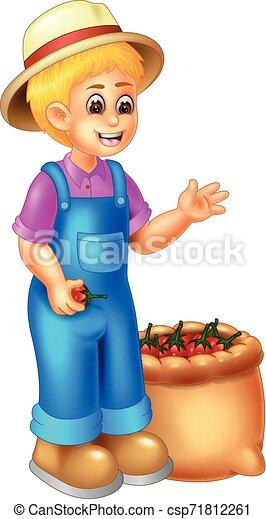 Gracioso dibujo de la chica jardinero - csp71812261