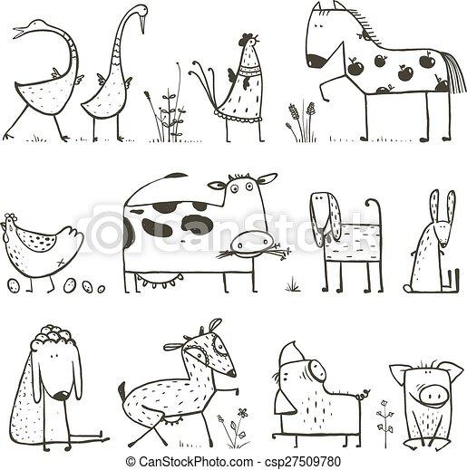 Una Divertida Coleccion De Animales Domesticos De Granja Para