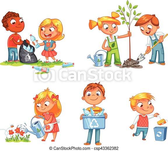 Diseño de niños ecológicos. Gracioso personaje de dibujos animados - csp43362382
