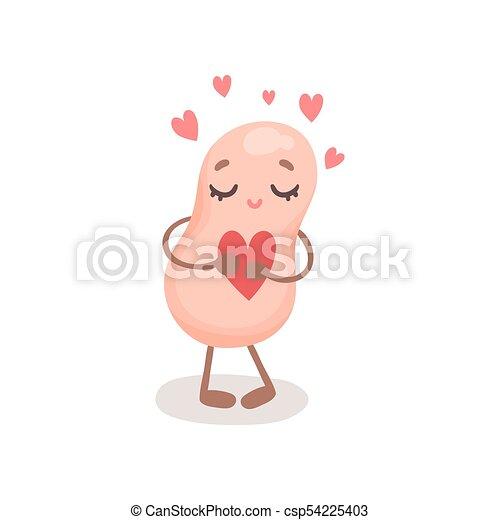 Un gracioso personaje de soja con el corazón rojo, una linda soja con cara humana y ojos cerrados vector de ilustración - csp54225403