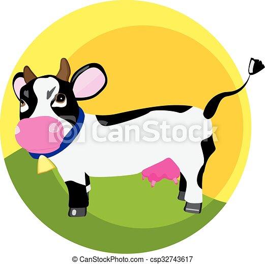 Una vaca graciosa en la hierba - csp32743617