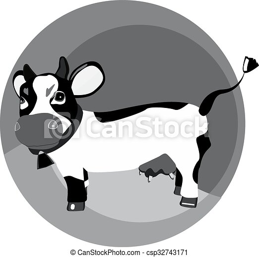 Una vaca graciosa en el césped - csp32743171