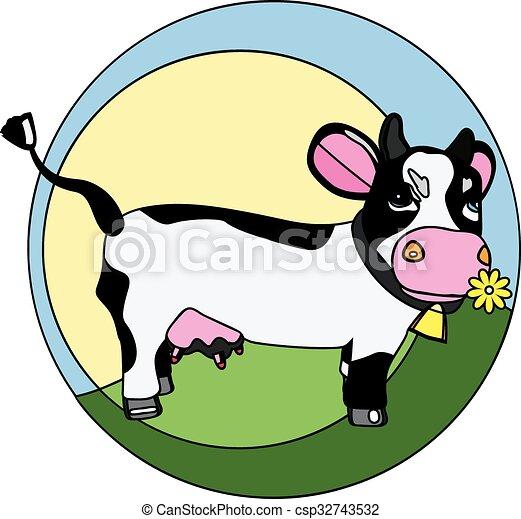 Una vaca graciosa en el logo de la hierba - csp32743532