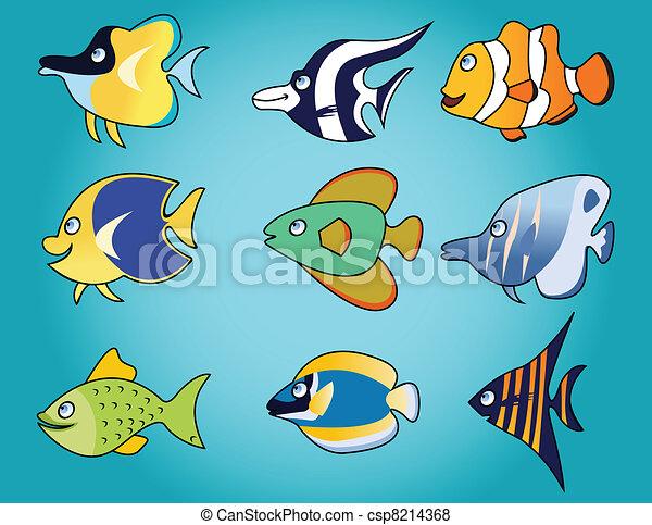Gracioso dibujo de peces - csp8214368