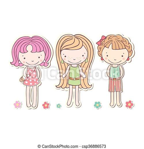 Tres niñas pequeñas divertidas aisladas, caricatura vectorial - csp36886573