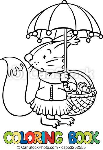 Divertido, poco, umbrella., ardilla, libro, colorido. Divertido ...