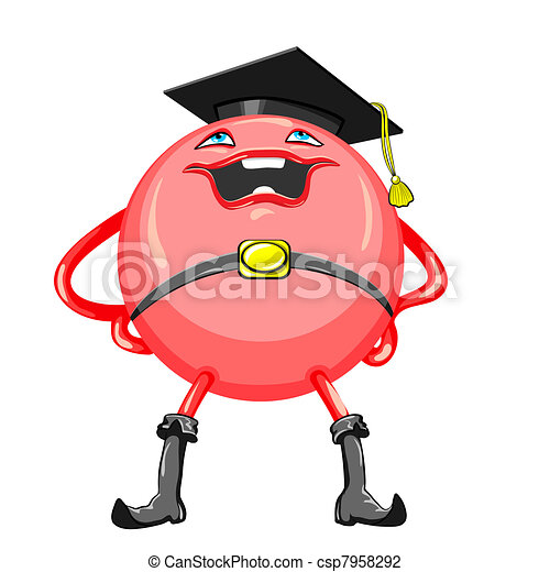 Ilustracin vectorial de divertido redcolored monstruo