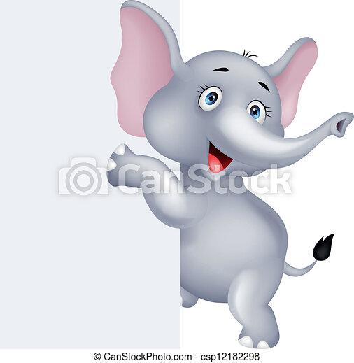Un elefante raro con una señal en blanco - csp12182298