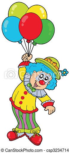 Un payaso sonriente con globos - csp3234714
