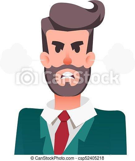 Un gracioso trabajador de oficina enojado. Furioso hombre de negocios con vapor soplando de orejas. El joven está experimentando ira. - csp52405218