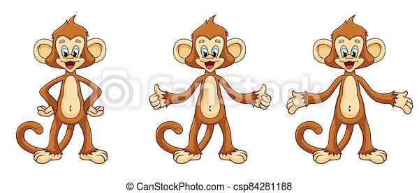 divertido, style., monos, caricatura, conjunto, lindo - csp84281188