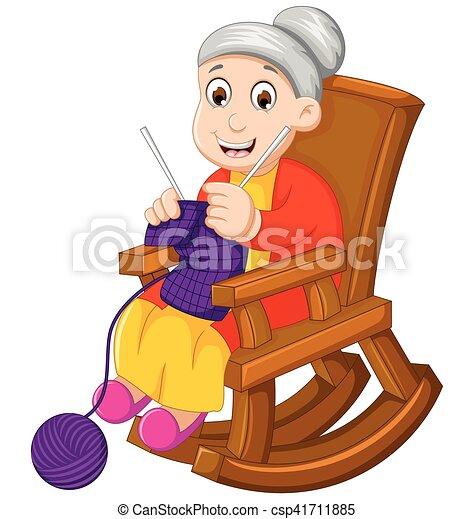 Una cómica abuela tejiendo en una mecedora - csp41711885