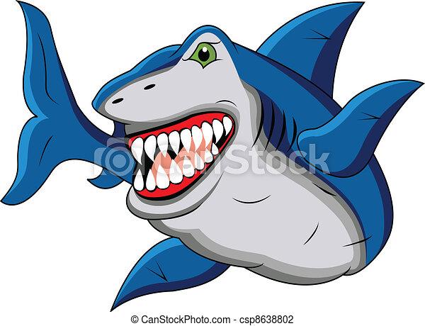 Gracioso dibujo de tiburón - csp8638802