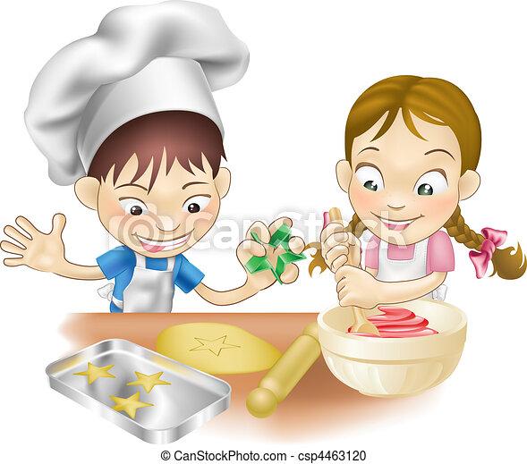 Divertimento, detenere, due, cucina, bambini. Due,... clipart ...