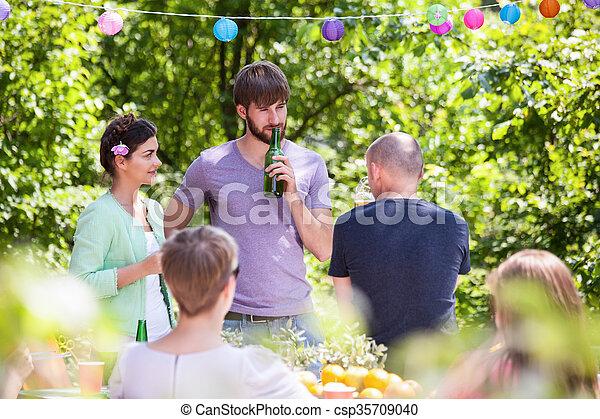 divertimento, estate, detenere, festa, persone - csp35709040