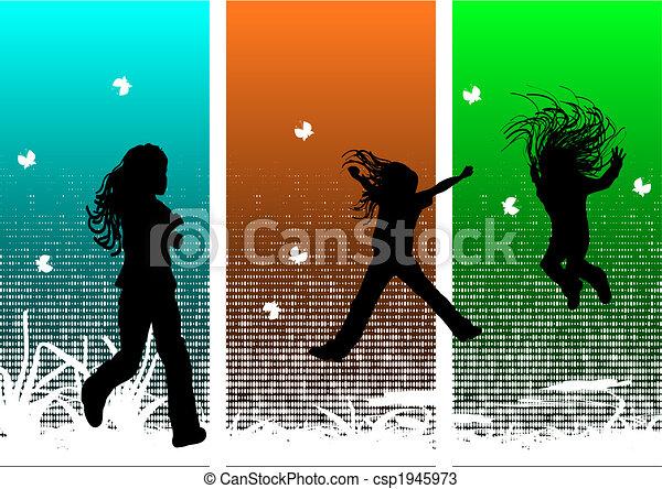 divertimento, meninas, jovem, tendo - csp1945973