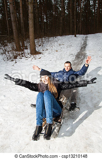 divertimento, par, jovem, tendo - csp13210148