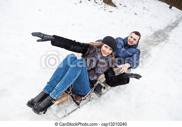 divertimento, par, jovem, tendo - csp13210240