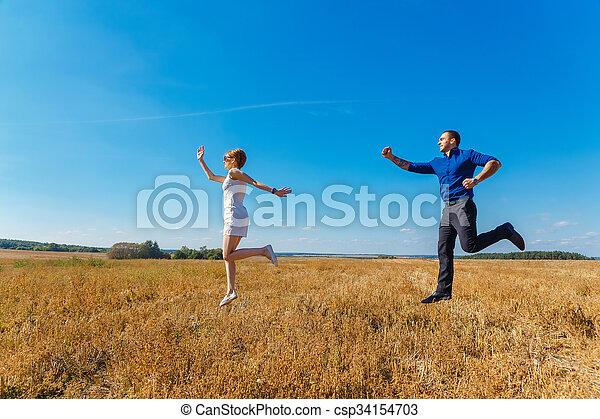 divertimento, par, jovem, tendo - csp34154703