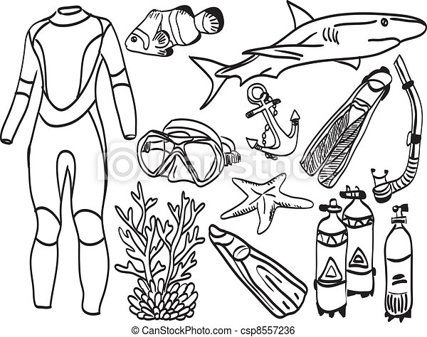 Diving equipment and sea life - csp8557236
