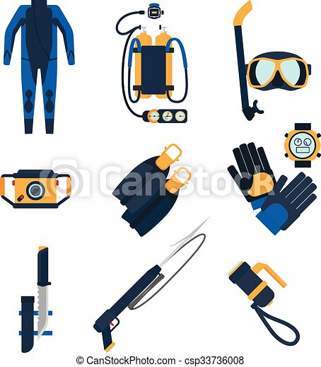 Diving equipment icons in flat style.  - csp33736008