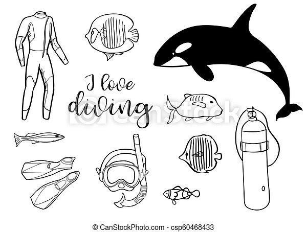 Diving Icon Doodle Set Underwater Sea And Ocean Adventure