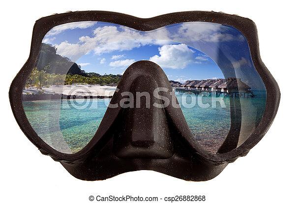 El paisaje tropical se refleja en gafas de máscaras para un buceo (diving) - csp26882868
