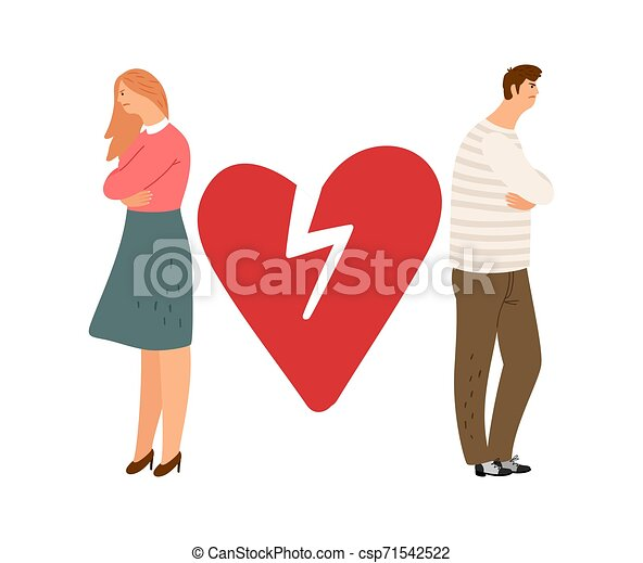 Divorce concept. Ex couple vector characters. Angry girl and boy - csp71542522