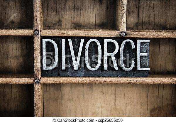 Divorce Concept Metal Letterpress Word in Drawer - csp25635050
