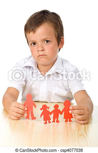 Divorce concept with sad kid - csp4077038