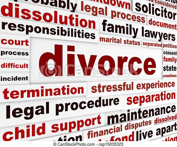 Divorce legal words poster design - csp15035323