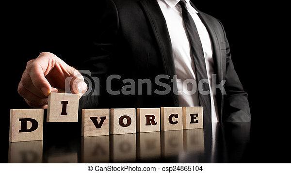 Divorce Letters on Black Background - csp24865104