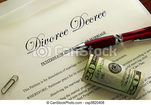 Divorce papers and cash with misc items - csp3820408