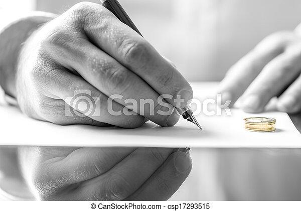 divorce, signer, papier - csp17293515