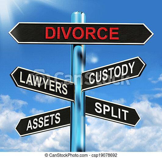 Divorce Signpost Means Custody Split Assets And Lawyers - csp19078692