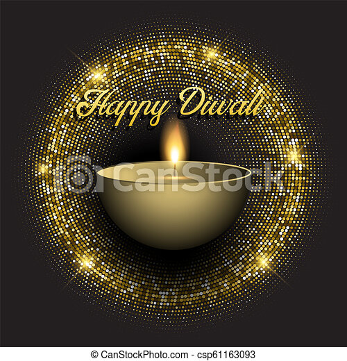 Diwali background with gold glittery lights - csp61163093
