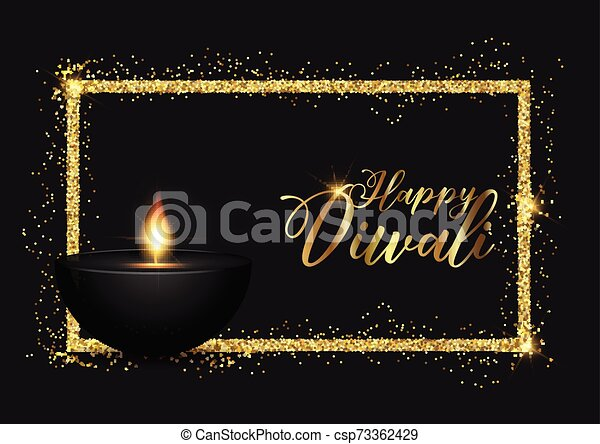 Diwali background with gold glittery border - csp73362429