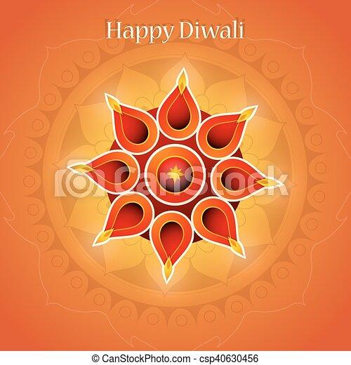 Diwali festival greeting card design with traditional clipart diwali festival greeting card csp40630456 m4hsunfo