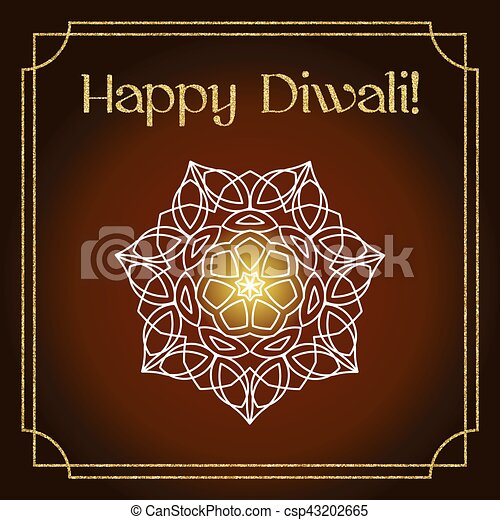 Diwali festival greeting card with gold glitter texture and mandala diwali festival greeting card with gold glitter texture and mandala csp43202665 m4hsunfo