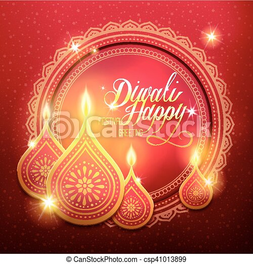 Happy diwali festival greeting text with candle decorations and red diwali festival greeting csp41013899 m4hsunfo
