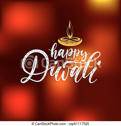 Diwali festival poster with hand lettering vector lamp vector diwali festival poster with hand lettering vector lamp illustration for indian holiday greeting or invitation stopboris Images