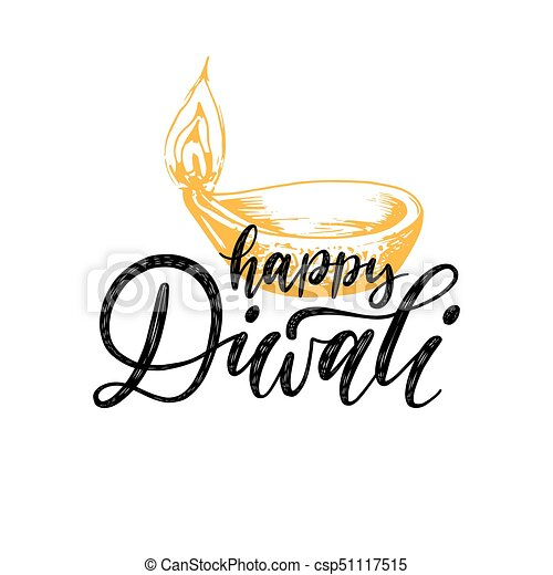 diwali festival poster with hand lettering vector lamp vector rh canstockphoto com
