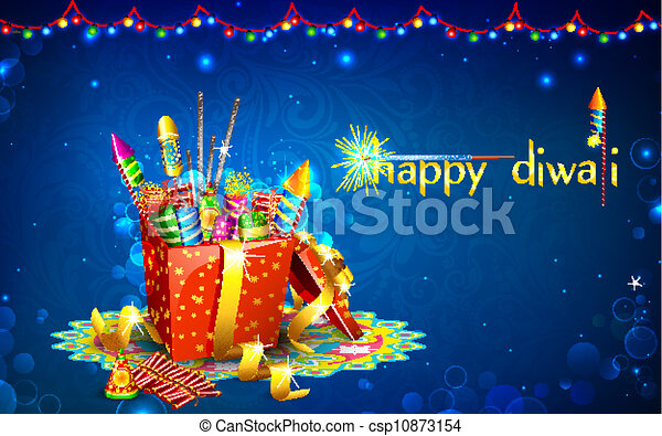 Diwali gift illustration of colorful firecracker in gift diwali gift csp10873154 negle Choice Image