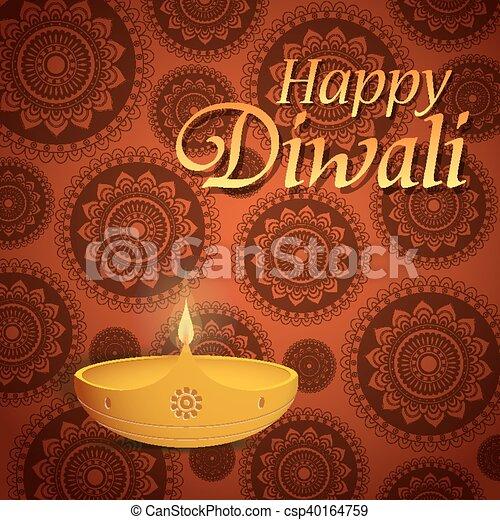Happy diwali greeting card design with traditional diya lamp clipart diwali greeting card csp40164759 m4hsunfo