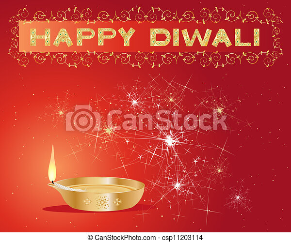 Diwali Greeting Card An Illustration Of A Diwali Lamp Lit Up With