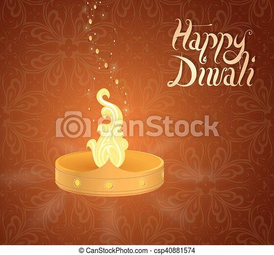 Diwali indian festival greeting card diwali traditional lamp on diwali indian festival greeting card csp40881574 m4hsunfo