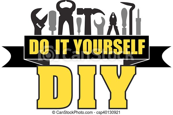 Diy do it yourself banner with silhouettes of workers tools hammer diy do it yourself banner with silhouettes of workers tools hammer screwdriver pliers file soldering iron pliers awl etc solutioingenieria Image collections