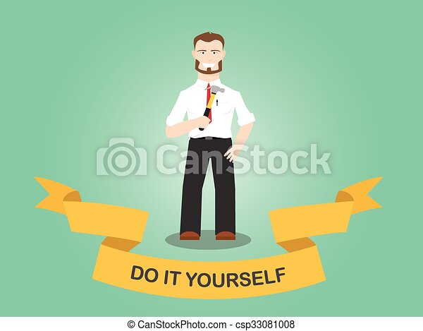 Diy do it yourself men working use hammer house tools vector vector diy do it yourself men working use hammer house tools vector solutioingenieria Images